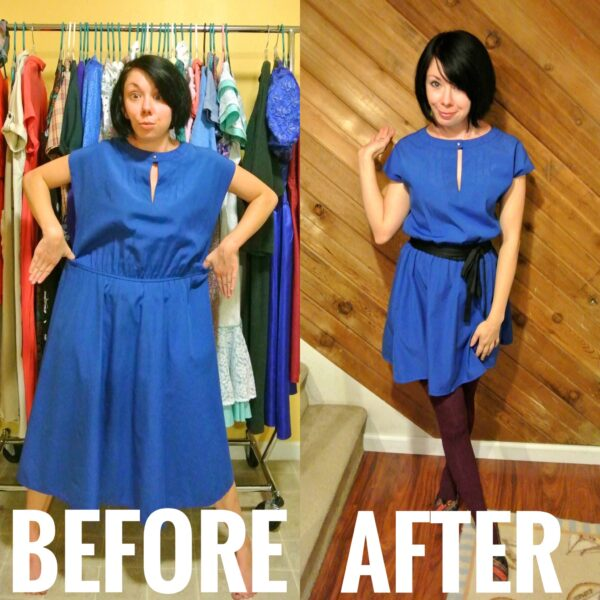 blue dress refashion before and after