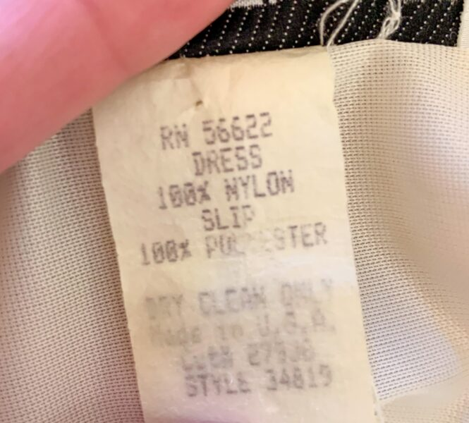dress fabric content label