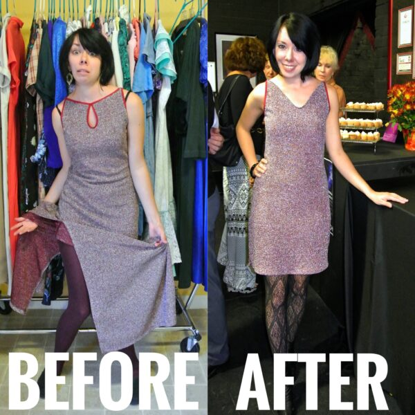 Refashionista Fixing a Dress With Holes Before and After