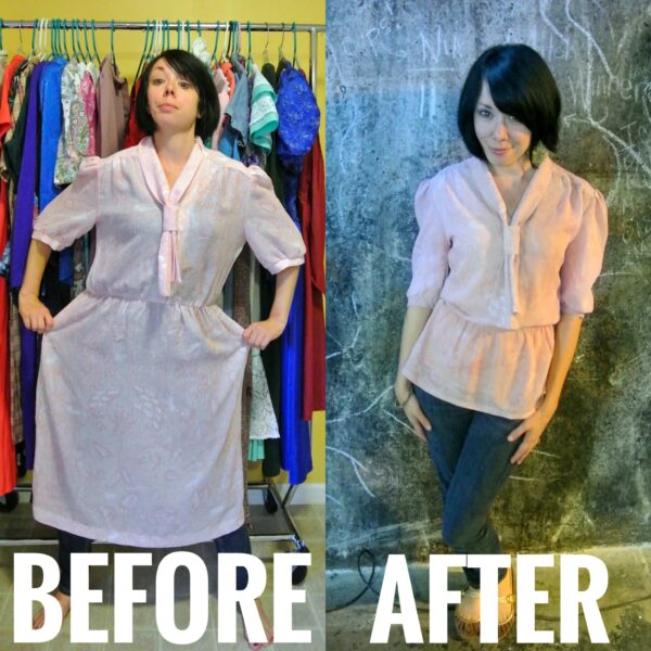 refashionista dress to top refashion before and after