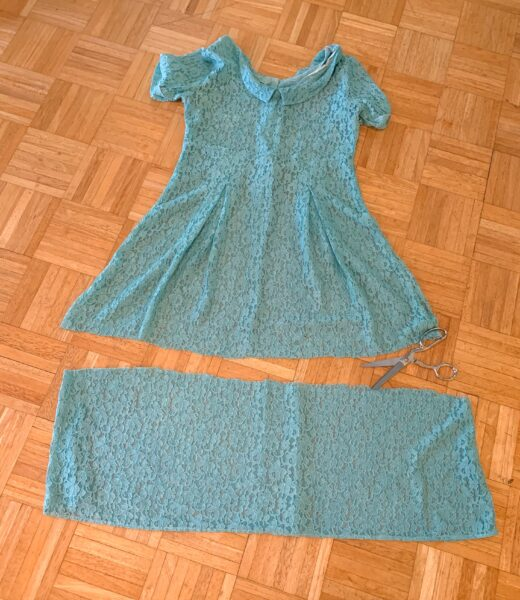 cutting off bottom of lace dress for refashion