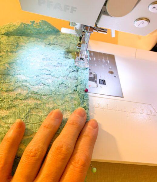 stitching new hem for dress refashion