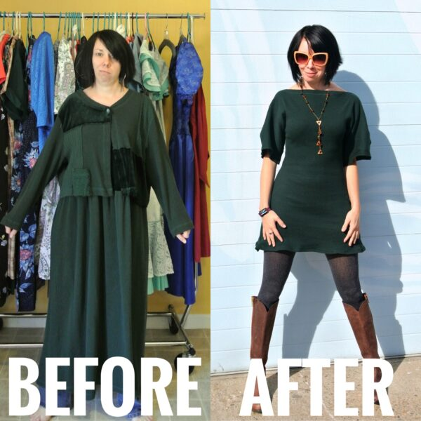 Refashionista Trace and Stitch Dress Before and After