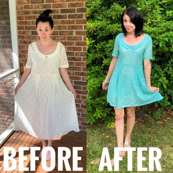 refashionista how to dye a lace dress before and after