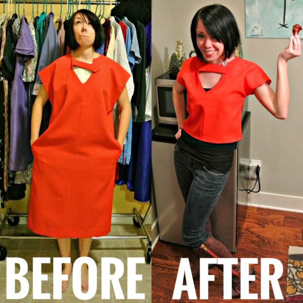 awkward dress to top refashion before and after