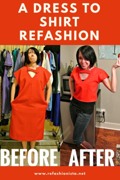 dress to top refashion pinnable image