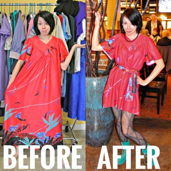 No Sew MuuMuu to Dress Refashion Before and After