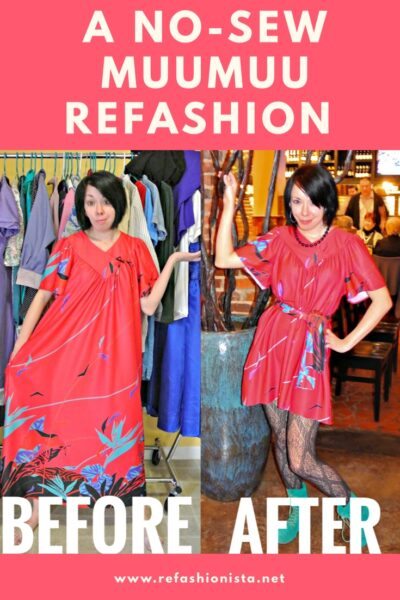 No sew muumuu to dress refashion pinnable image