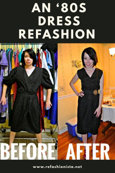 80s dress refashion before and after pinterest image