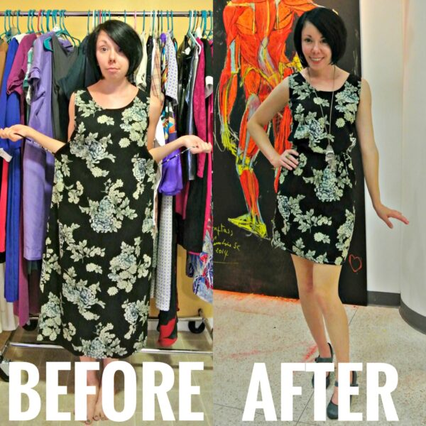 refashionista sewing with a serger before and after