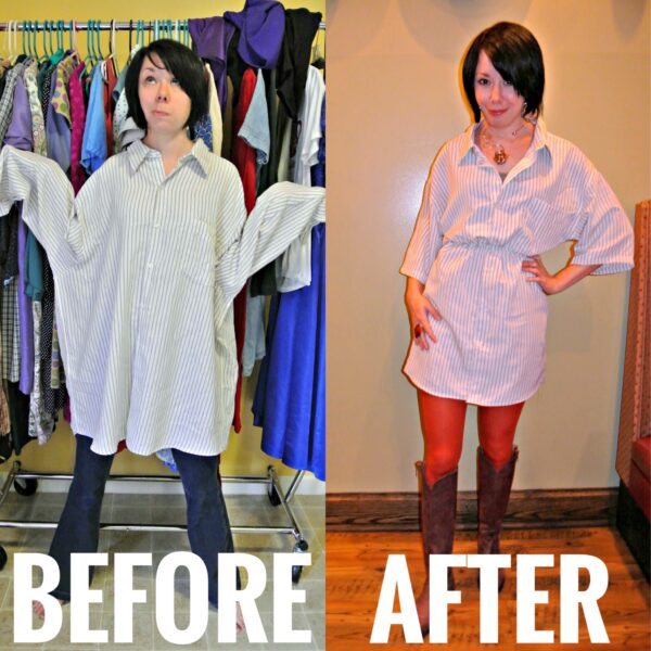 Refashionista Men's Shirt to Dress Refashion Before and After