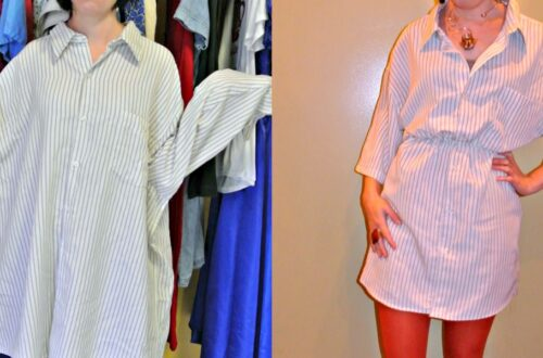 Men's Shirt to Dress Refashion 2