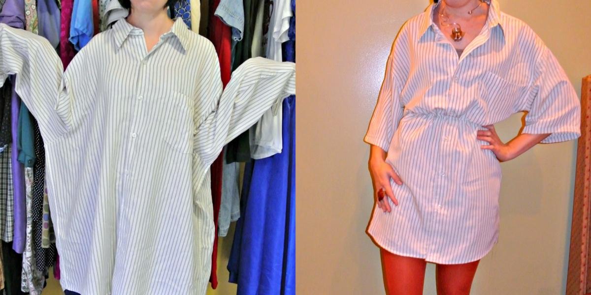 Men's Shirt to Dress Refashion 1