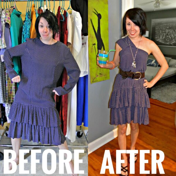 refashionista one shoulder refashion before and after