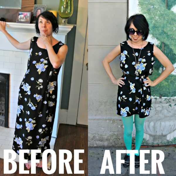 refashionista easy dress refashion with pocket before and after