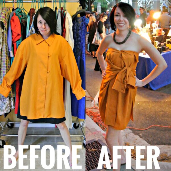 refashionista no sew button up shirt to dress refashion before and after