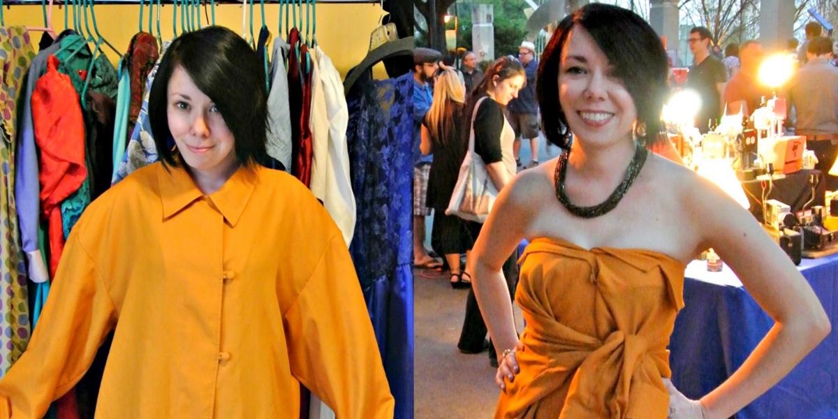 No-Sew Button-Up Shirt to Dress Refashion 1