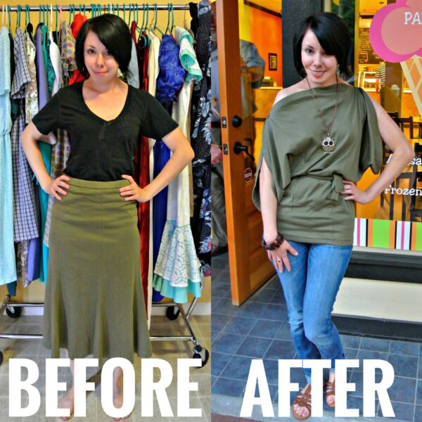 Refashionista Skirt to Shirt Refashion Before and After