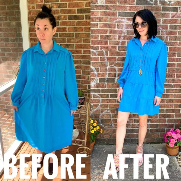 Refashionista DIY Tiered Dress Refashion Before and After