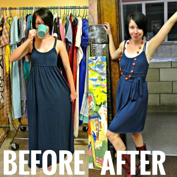 refashionista no sew jersey dress refashion before and after