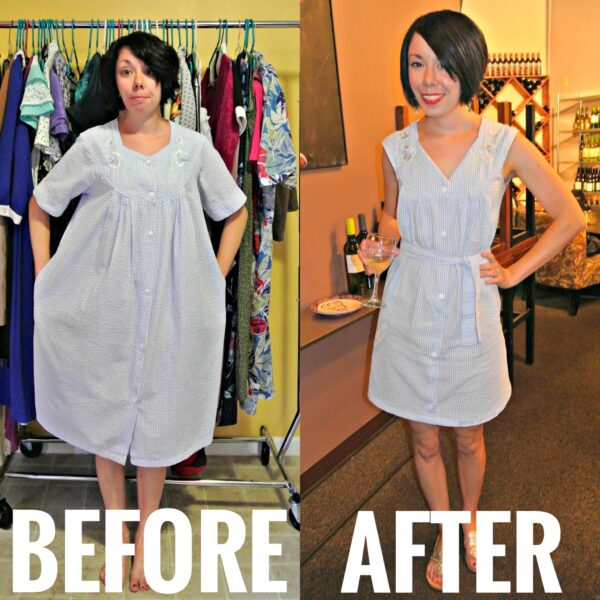 Refashionista Seersucker House Dress to Day Dress Refashion Before and After