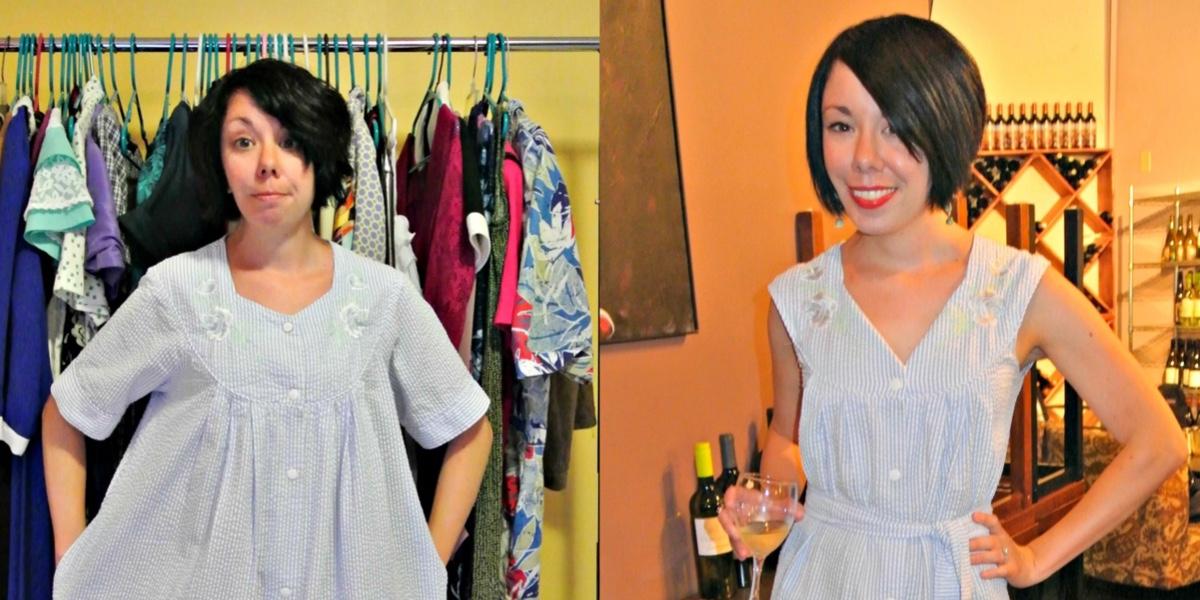 Seersucker House Dress to Day Dress Refashion 1