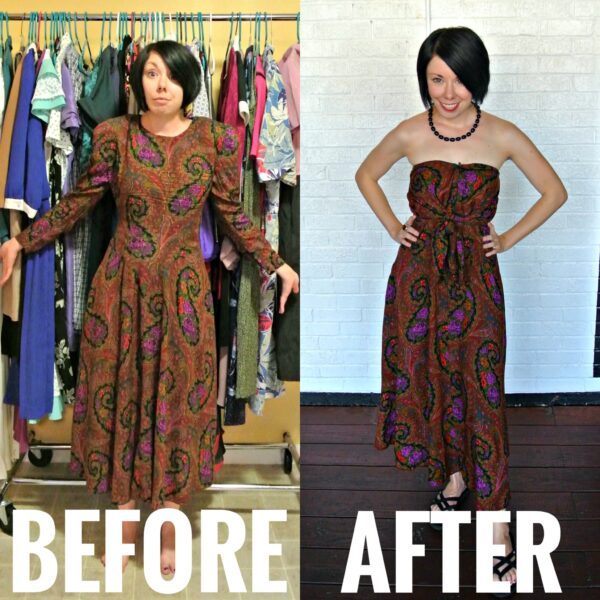 refashionista no sew refashion before and after