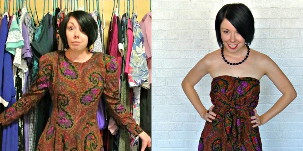 A Too Darn Hot No-Sew Dress Refashion 1