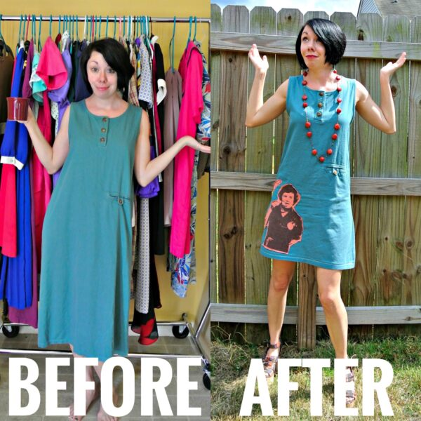 Refashionista What Would Julia Do? A T-Shirt Appliqué Dress Refashion Before and After