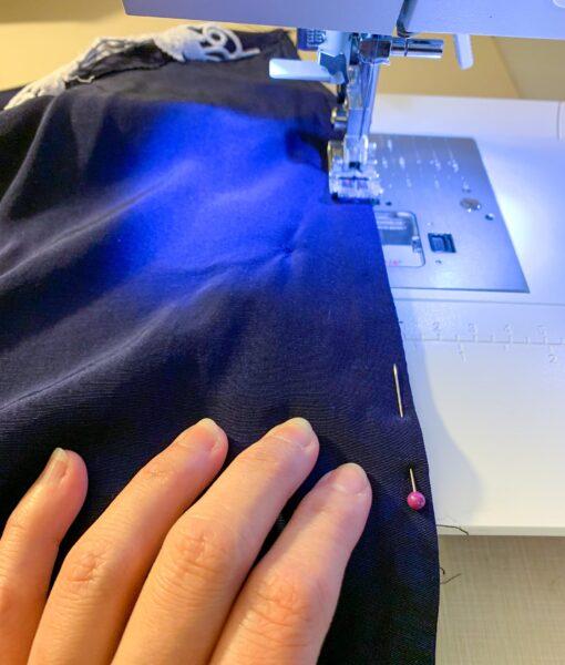 sewing neckline back together