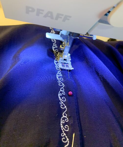 stitching down front placket