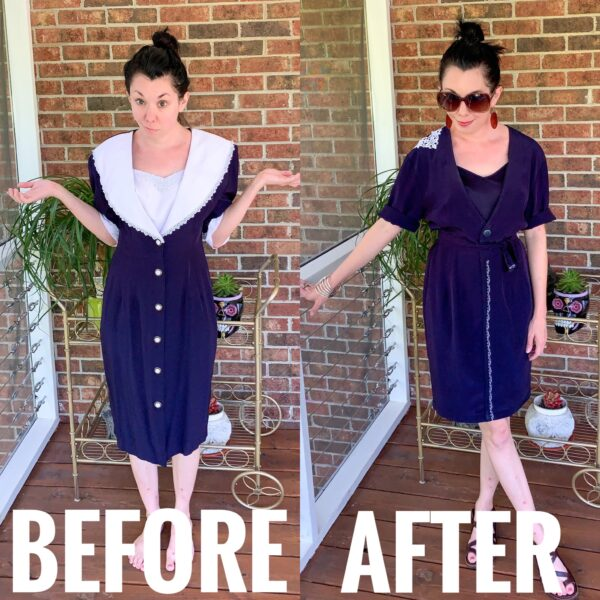 Refashionista Thrift Store Dress Refashion Before and After