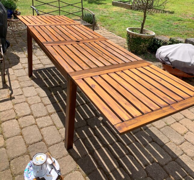 outdoor IKEA table re-stained