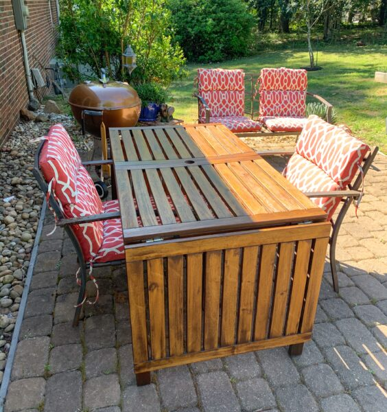 re-stained patio table