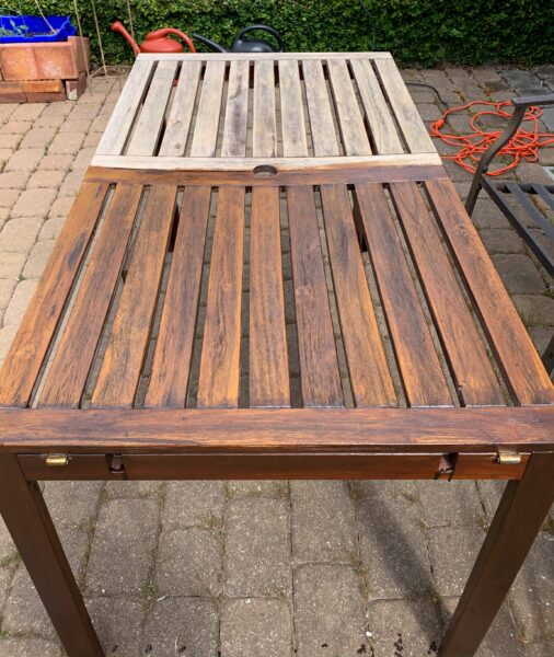 staining outdoor IKEA table