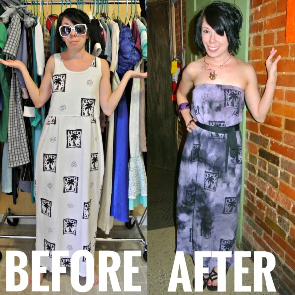 Refashionista Faux Tie-Dye Tutorial Before and After