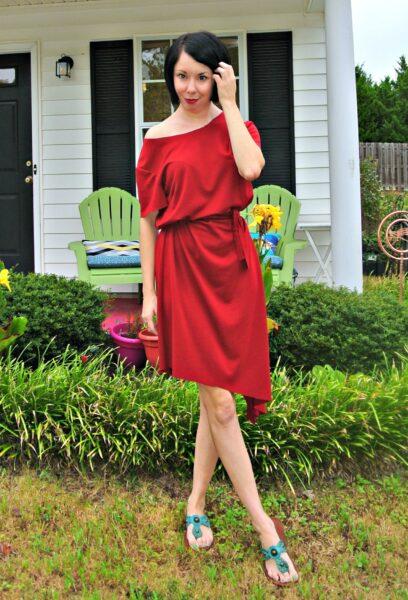 Off-the-Shoulder No-Sew Dress Refashion After