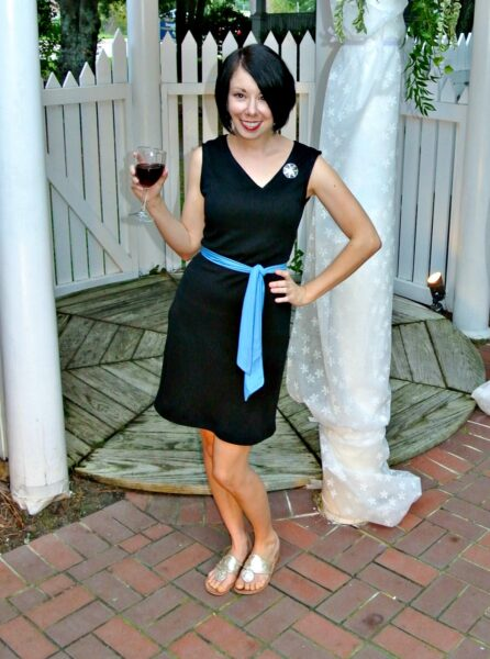 Asymmetrical neckline dress refashion after