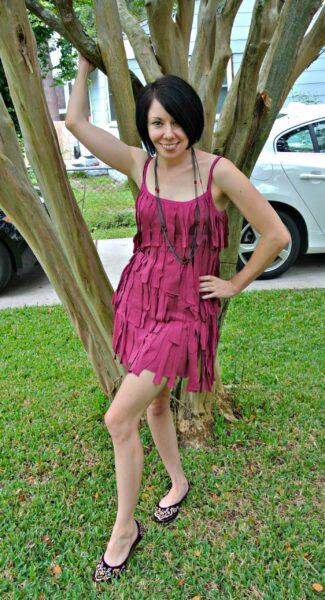DIY Fringed Dress Refashion After