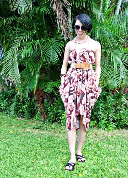 Refashionista No Sew Hawaiian Shirt to Dress Refashion After