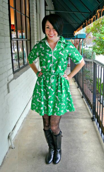 No-Sew '70s Housecoat to Dress Refashion After