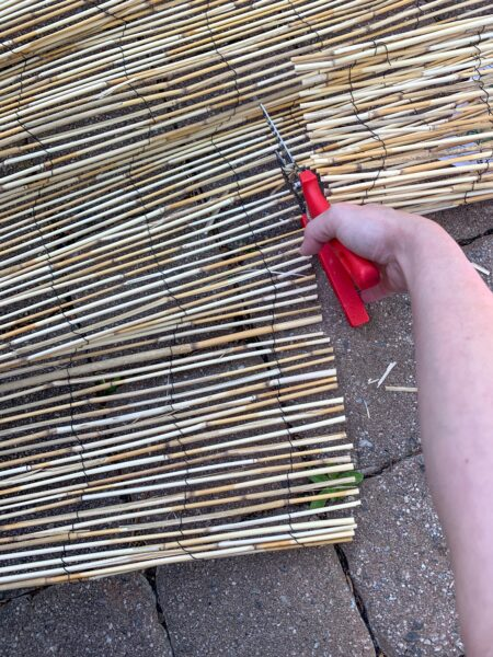 cutting reed fencing with kitchen shears