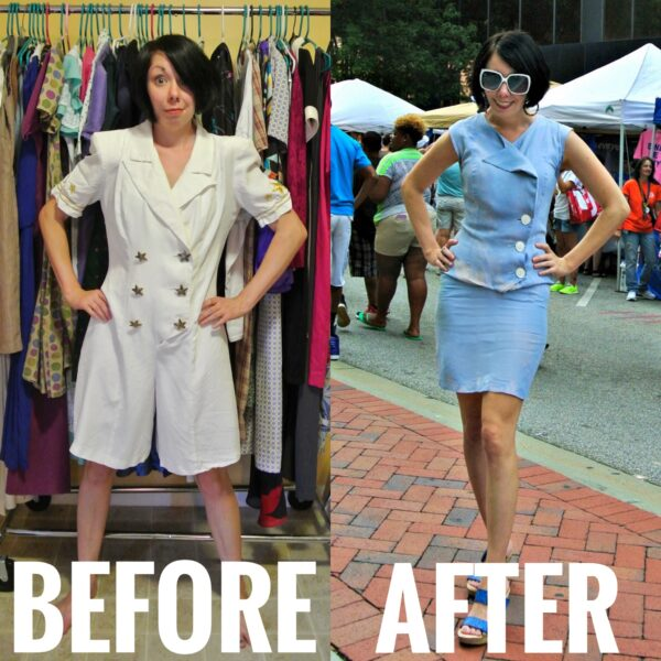 Refashionista Nautical Romper Refashion Before and After