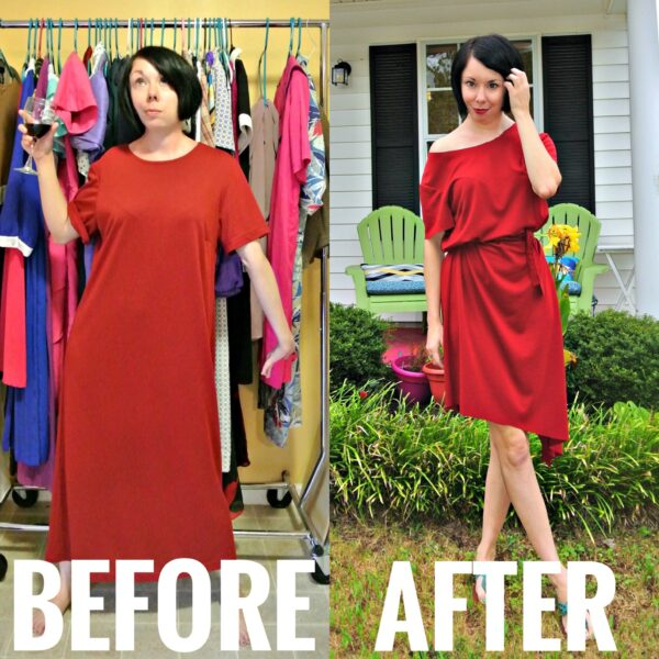 Refashionista Off-the-Shoulder No-Sew Dress Refashion Before and After