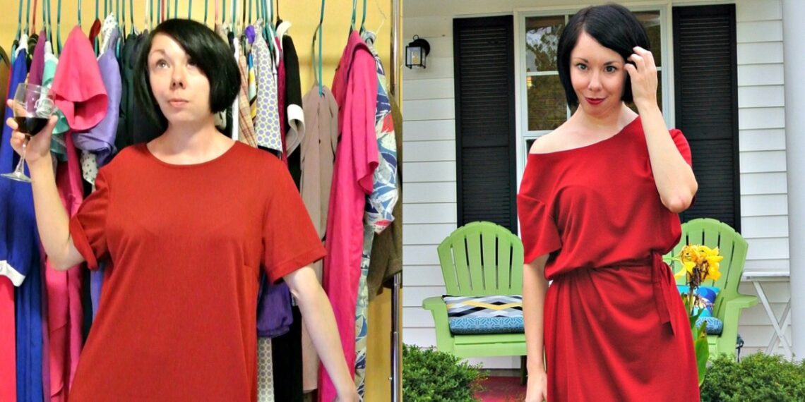 An Off-the-Shoulder No-Sew Dress Refashion! 1