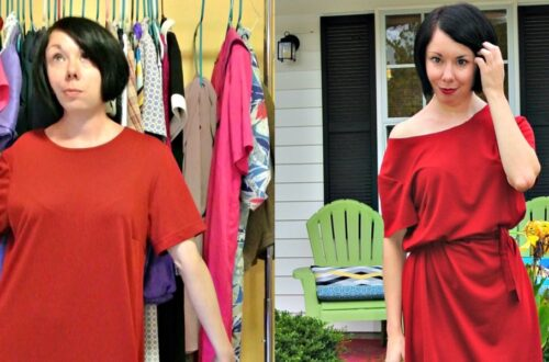 An Off-the-Shoulder No-Sew Dress Refashion! 21