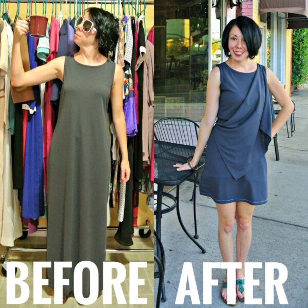 Grecian Statuette Dress Refashion Before and After