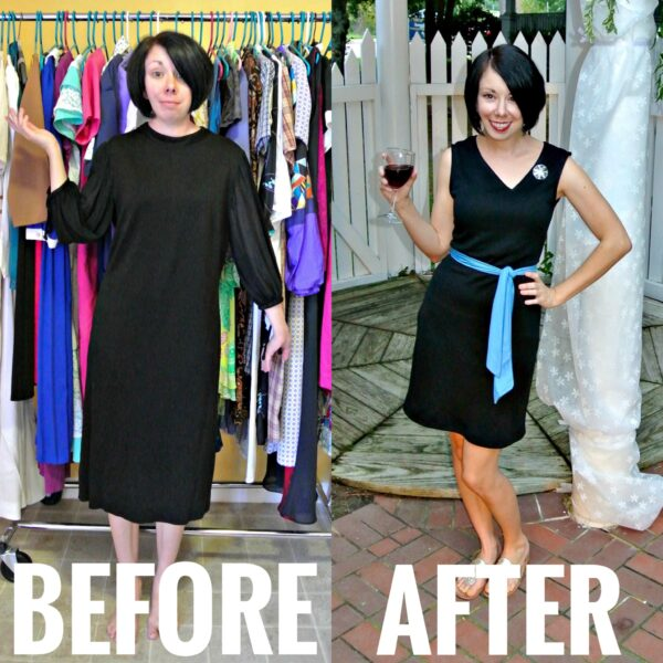 Asymmetrical V-neck Dress Refashion Before and After