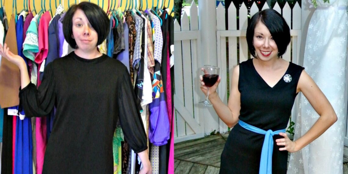 An Asymmetrical V-neck Dress Refashion 1