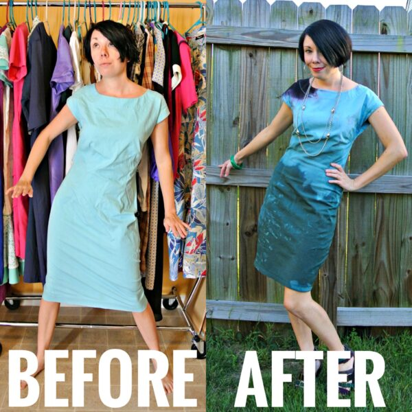Refashionista Dip Dyed Dress Refashion Before and After